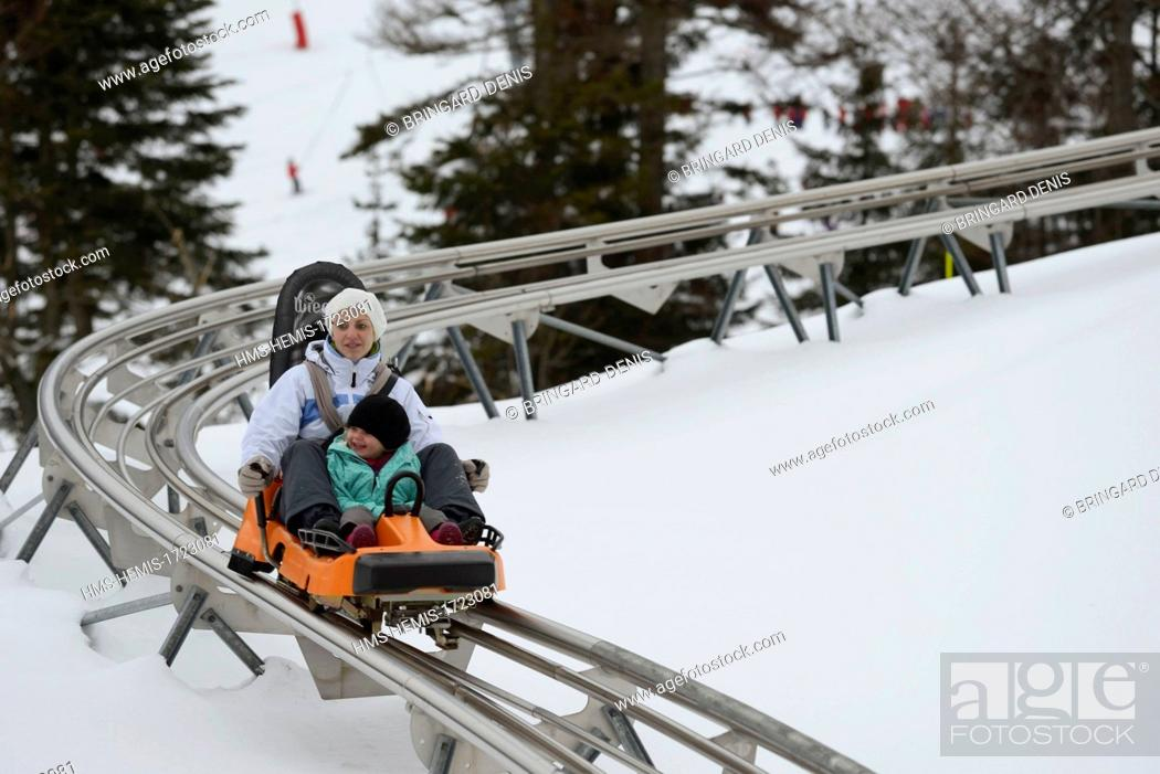 Stock Photo: France, Vosges, La Bresse, La Bresse Hohneck ski area, sled on rails.
