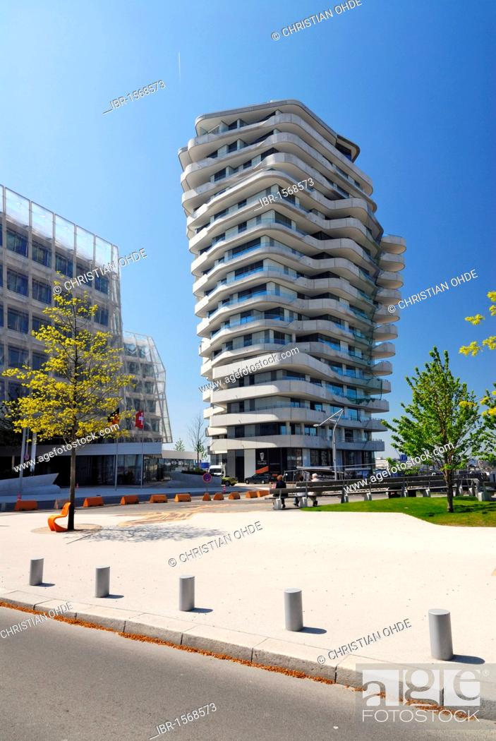 stock photo the apartment building marco polo tower strandkai quay hafencity hamburg germany europe