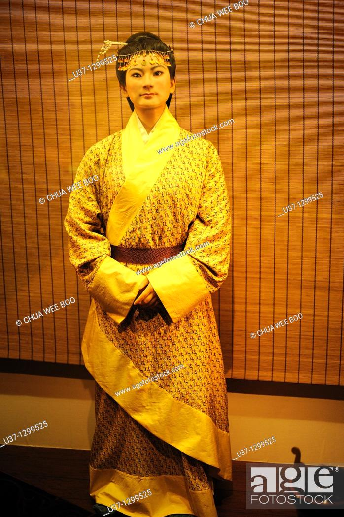 Stock Photo: Statue: Marquise DAI-XIN ZHUI  Height 158cm. The statue is copied on the female corpse of Xin Zhui and the related materials.