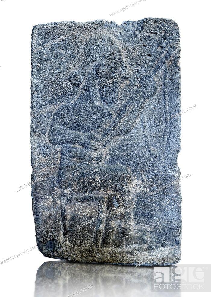 Stock Photo: 10th - 8th century BC stone Neo-Hittite/ Aramaean Orthostats from the city of Sam'al (Hittite: Yadiya) near Zincirli Höyük in the Anti-Taurus Mountains of.
