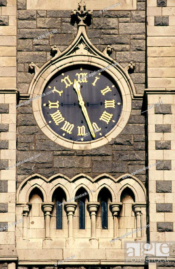 Stock Photo: Clock in steeple of Findlater's Church, Dublin, Ireland.
