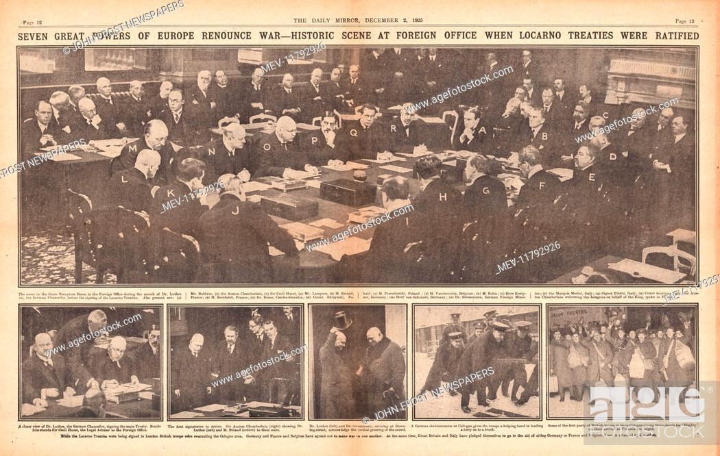 1925 Daily Mirror Centre Page Signing Of The Locarno Treaty Stock