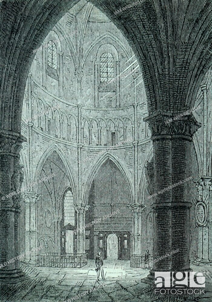 Stock Photo: Engraving depicting the interior of Temple Church, built by the Knight's Templar as their English headquarters. Dated 12th Century.