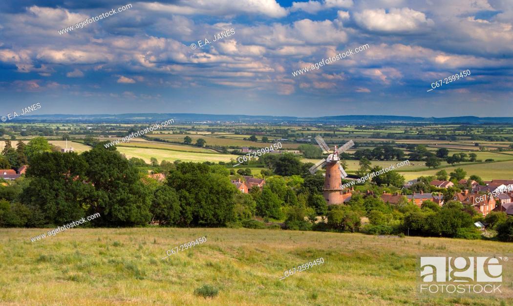 Stock Photo: Quainton Village & Windmill Buckinghamshire UK Late June.