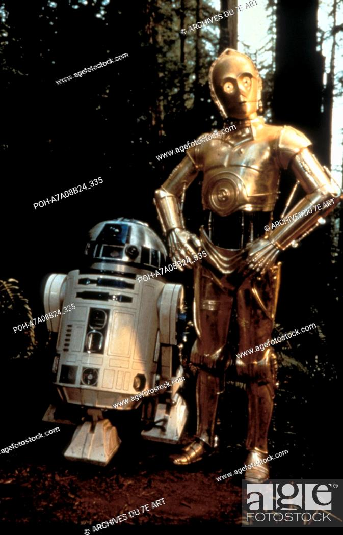 Stock Photo: Star Wars: Episode VI, Return of the Jedi  Year : 1983 USA  Director: Richard Marquand Anthony Daniels, Kenny Baker. It is forbidden to reproduce the photograph.