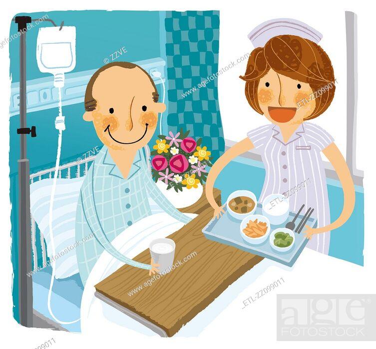 Stock Photo: Patient in hospital bed receiving breakfast from Nurse.