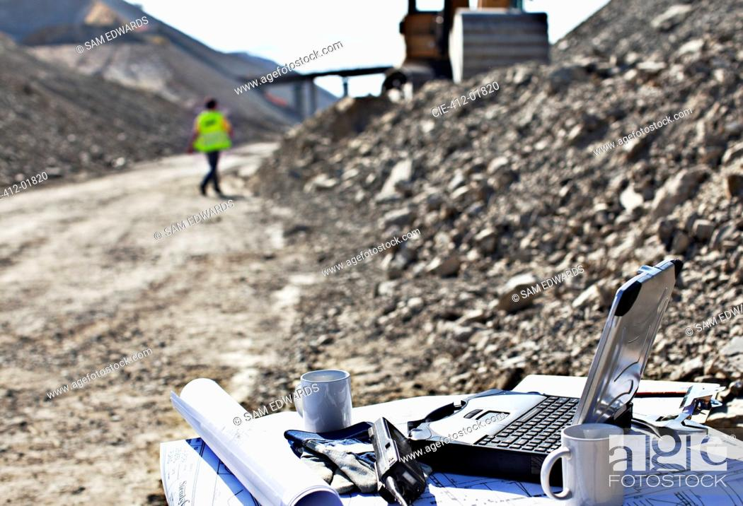 Stock Photo: Laptop at workstation in quarry.