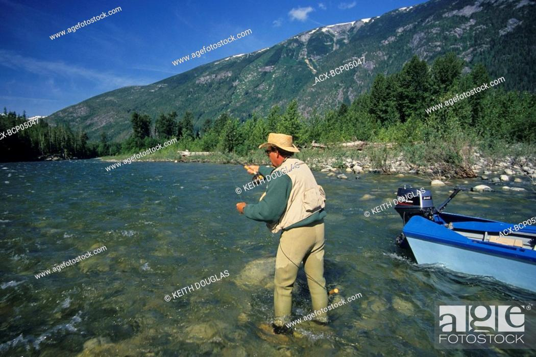 Stock Photo: Flyfishing for steelhead, Dean river, British Columbia, Canada.