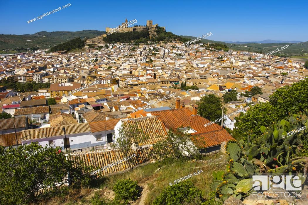 Stock Photo: Panoramic view typical Andalusian village of Alcala la Real. Jaen province, southern Andalusia. Spain Europe.