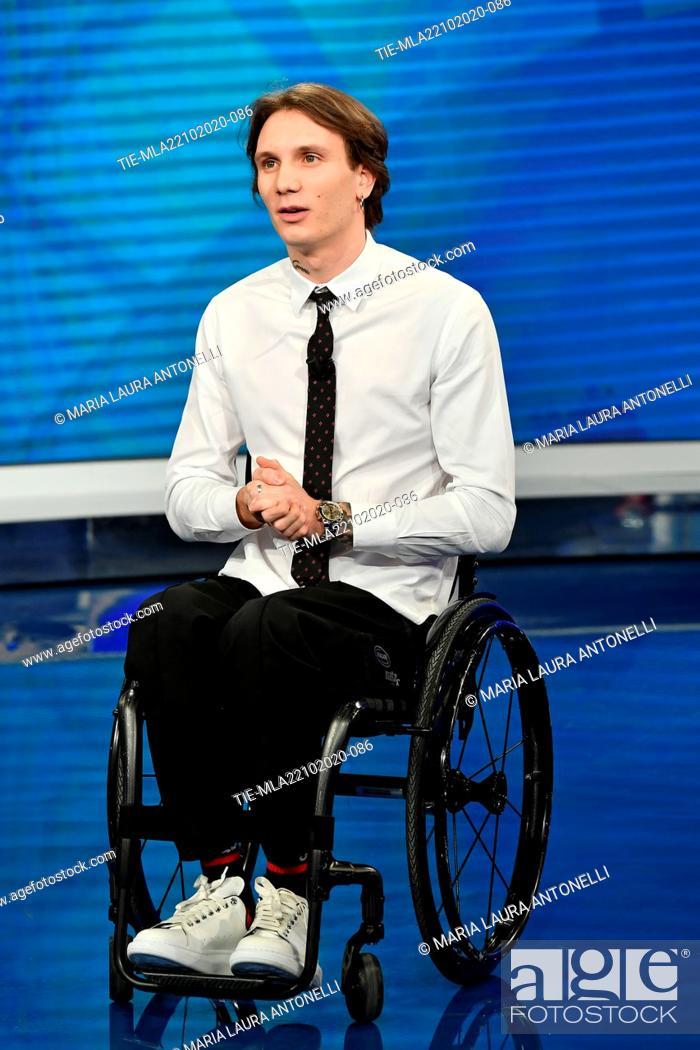 Stock Photo: The swimmer Manuel Bortuzzo attends at the tv show 'Porta a porta' , Rome, ITALY-21-10-2020.