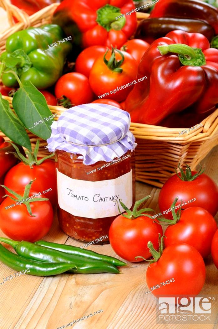Stock Photo: Country Kitchen scene with home made chutney and ingredients, UK, September.