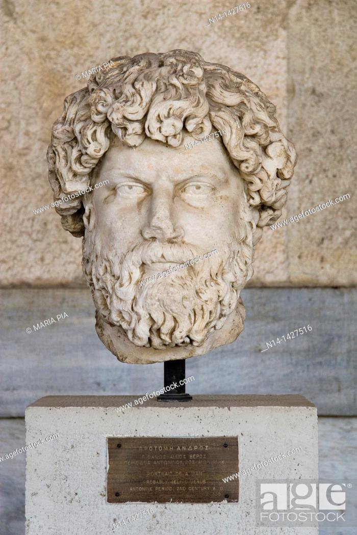 Stock Photo: Portrait of a man, probably Aelius Verus, 2nd century AD, Stoa of Attalos, the museum of Ancient Agora, Athens, Greece.