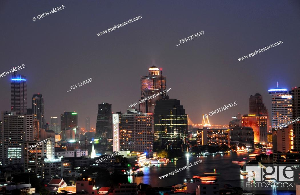Stock Photo: View of the center of Bangkok by night.