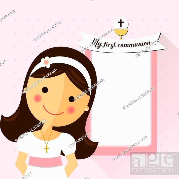Stock Vector: My first communion invitation with message and foreground girl.