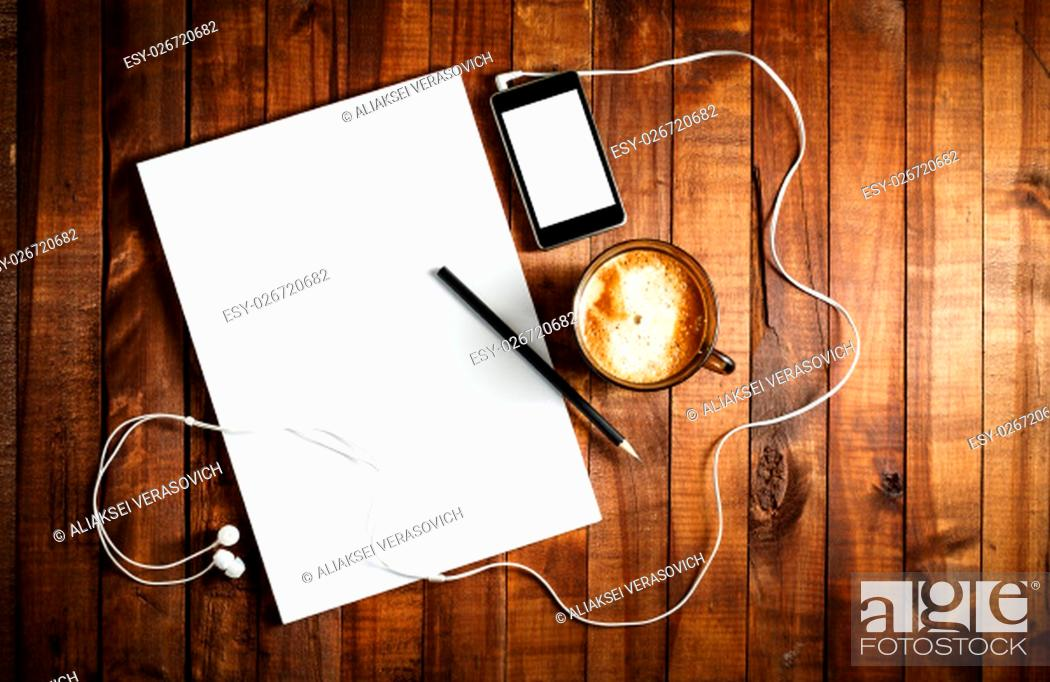 Stock Photo: Blank stationery on vintage wooden table background. ID template. Mockup for branding identity for designers. Blank letterhead, coffee cup, phone.