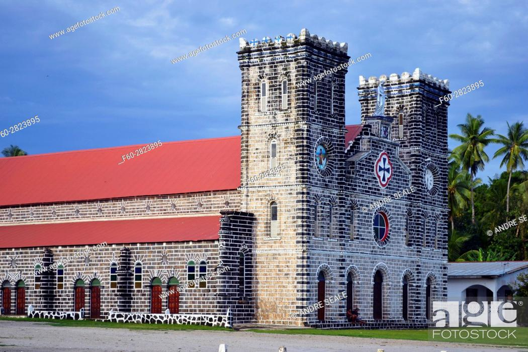 Stock Photo: Our Lady of Good Hope Cathedral in downtown Matautu, Wallis Island, Wallis and Futuna, Melanesia, South Pacific.