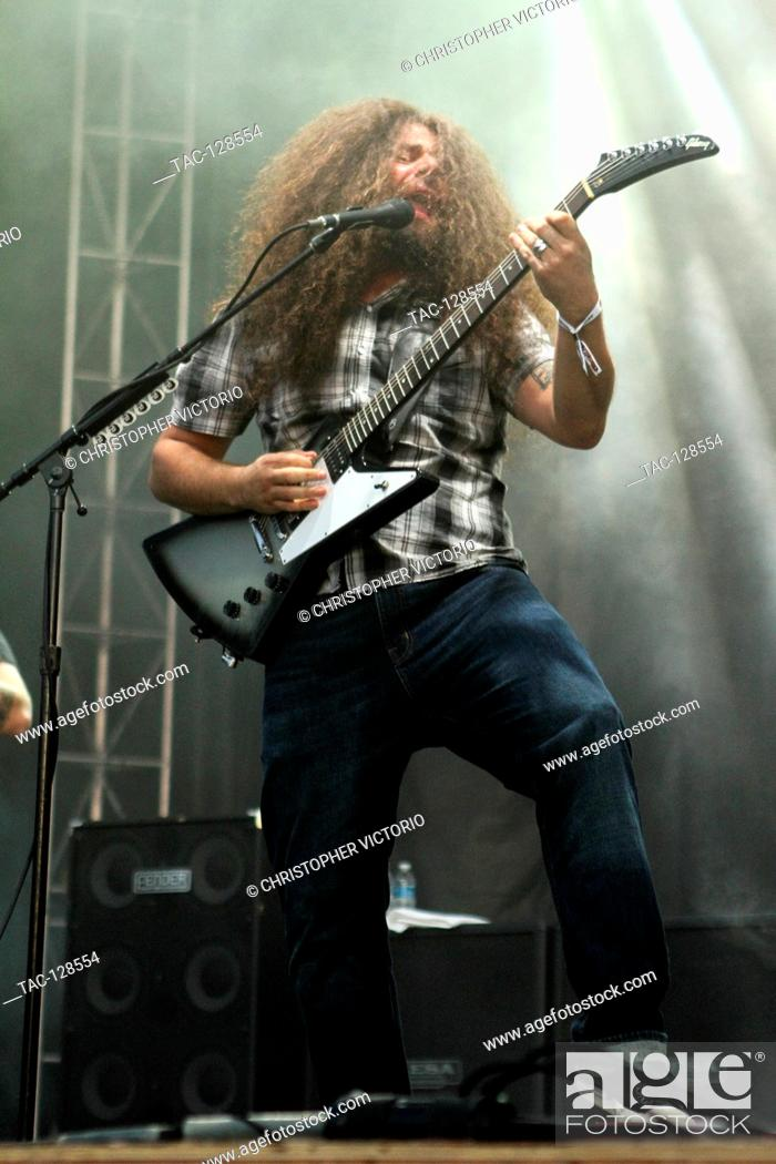 Stock Photo: Vocalist and guitarist Claudio Sanchez of Coheed and Cambria performs at 2015 Monster Energy Aftershock Festival at Gibson Ranch County Park on October 25.