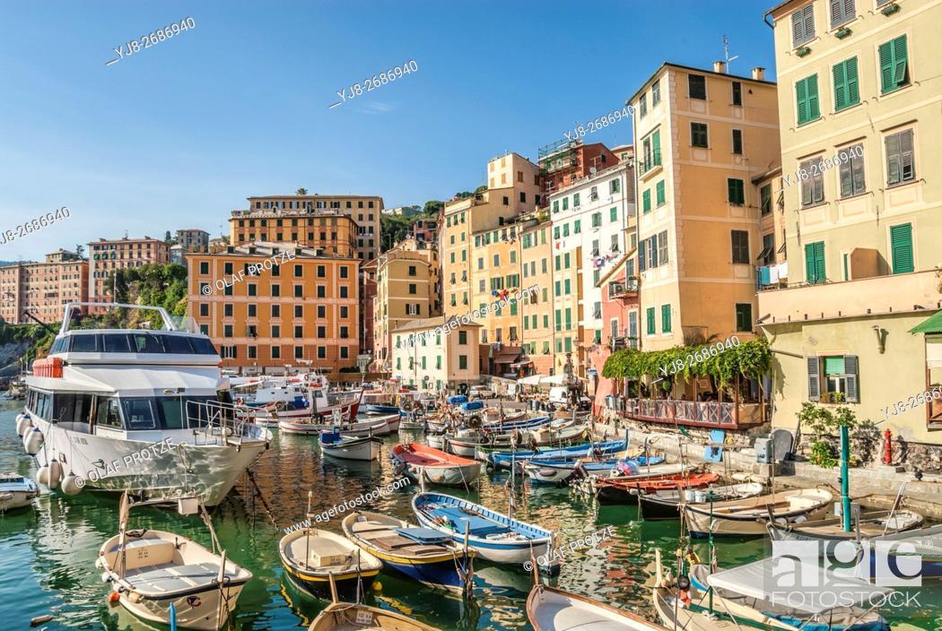 Stock Photo: Fishing Port of Camogli in Liguria, North West Italy.