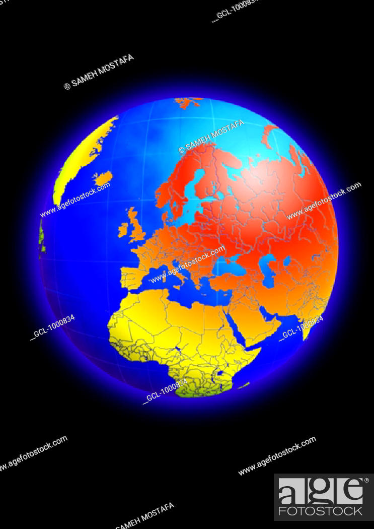 Stock Photo: Europe, North Africa and the Middle East on Globe.