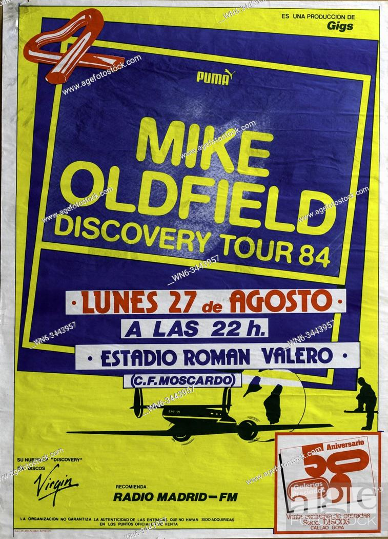 Imagen: Mike Oldfield Discovery Tour 1984 Madrid Musical concert poster.