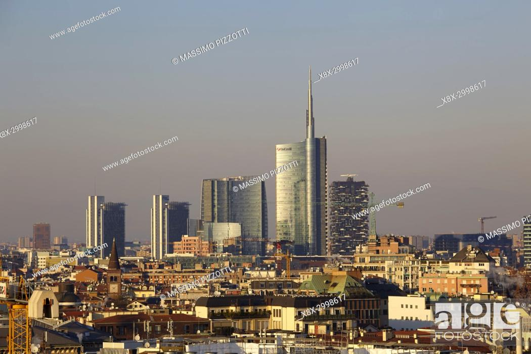 Stock Photo: Skyline of Milan with the modern skyscrapers of Porta Nuova, Italy.