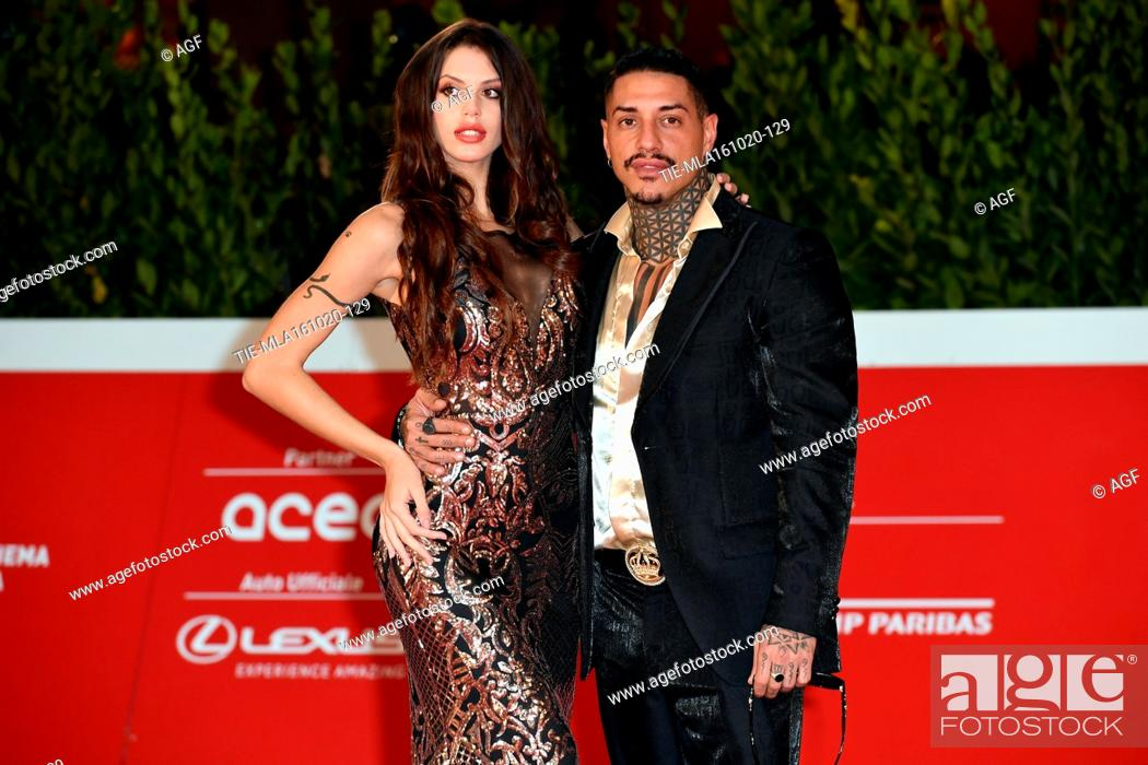 "Stock Photo: Antonella Fiordelisi, Francesco Chiofalo attends the red carpet of the movie """"Supernova"""" during the 15th Rome Film Festival on October 16, 2020 in Rome, Italy."