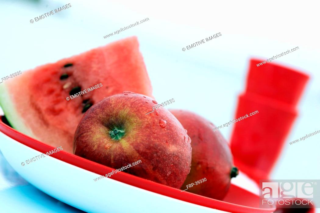Stock Photo: Plate with watermelon and apples.