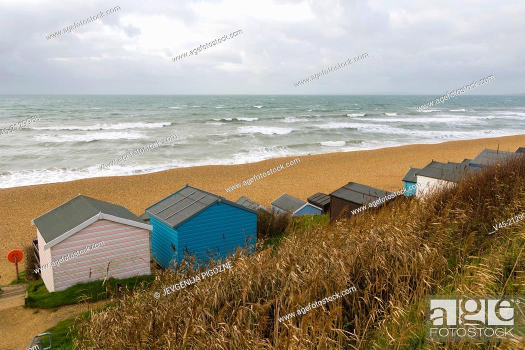Stock Photo: Sea coast with beachhuts, Milford on Sea, Hampshire, South England, UK.
