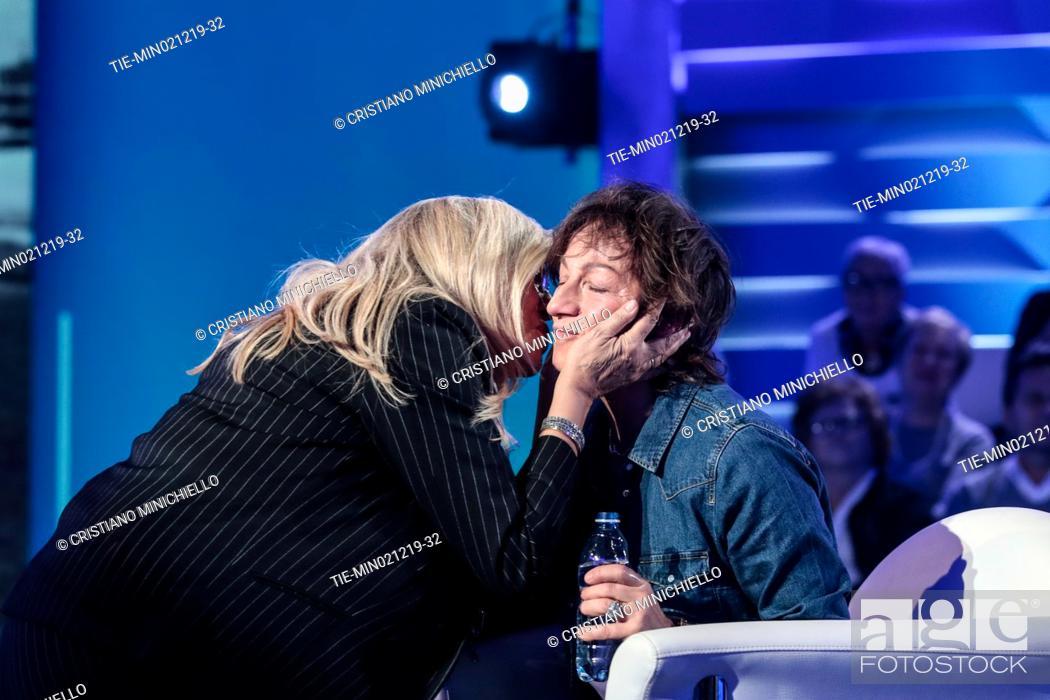Stock Photo: Tv conducer Mara Venier, Italian singer Gianna Nannini during the tv show Domenica in, Rome, ITALY-01-12-2019.