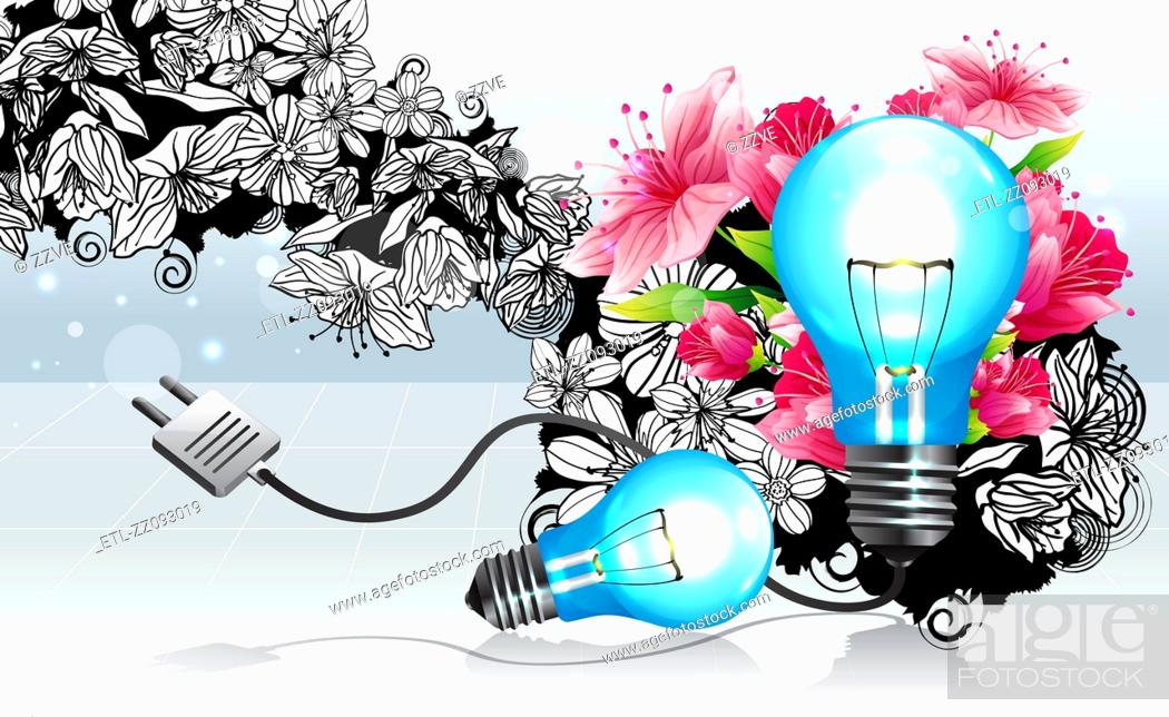 Stock Photo: Light bulb with flora design.