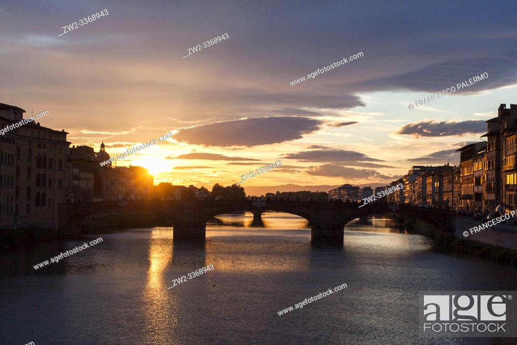 Stock Photo: The evocative spring sunset over the Arno. Florence, Tuscany. Italy.