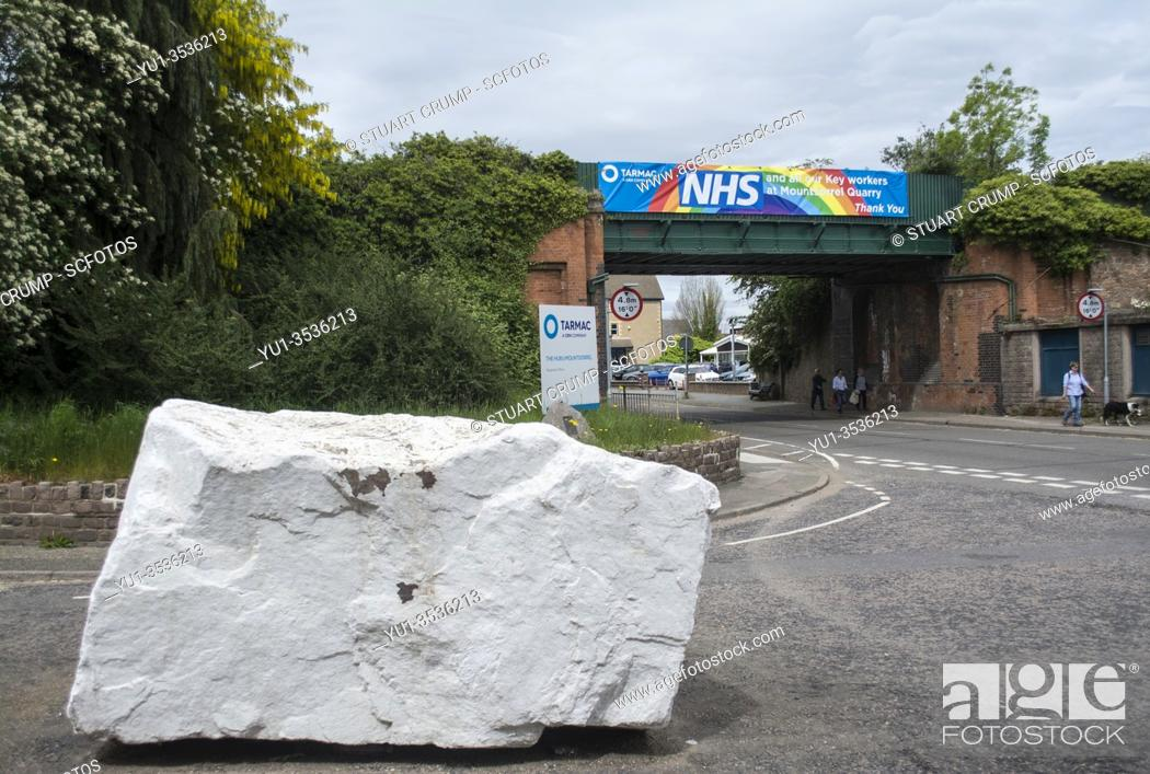 Stock Photo: Thank you banner for the NHS on a bridge over Leicester Road in Mountsorrel by the company Tarmac.