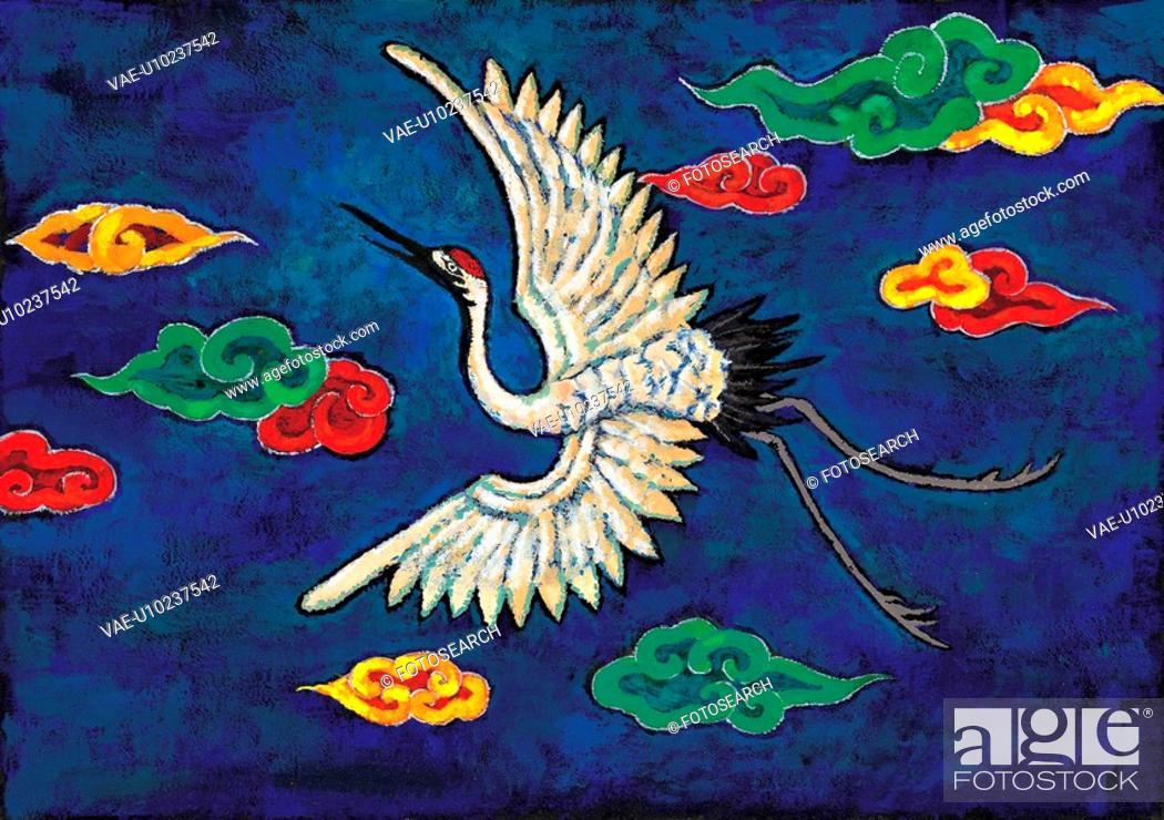 Stock Photo: vertebrate, Orientalpainting, animal, cloud, crane, bird, tradition.