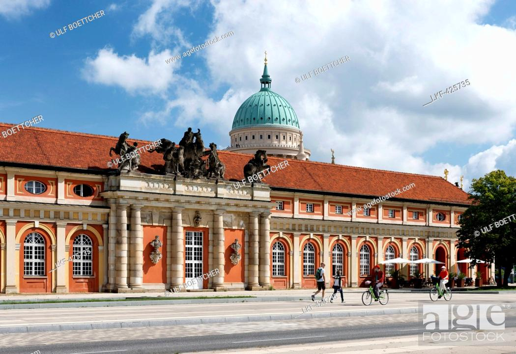 Stock Photo: Film Museum with St. Nicholas' church, Nikolai Church, in the background, Potsdam, Land Brandenburg, Germany.
