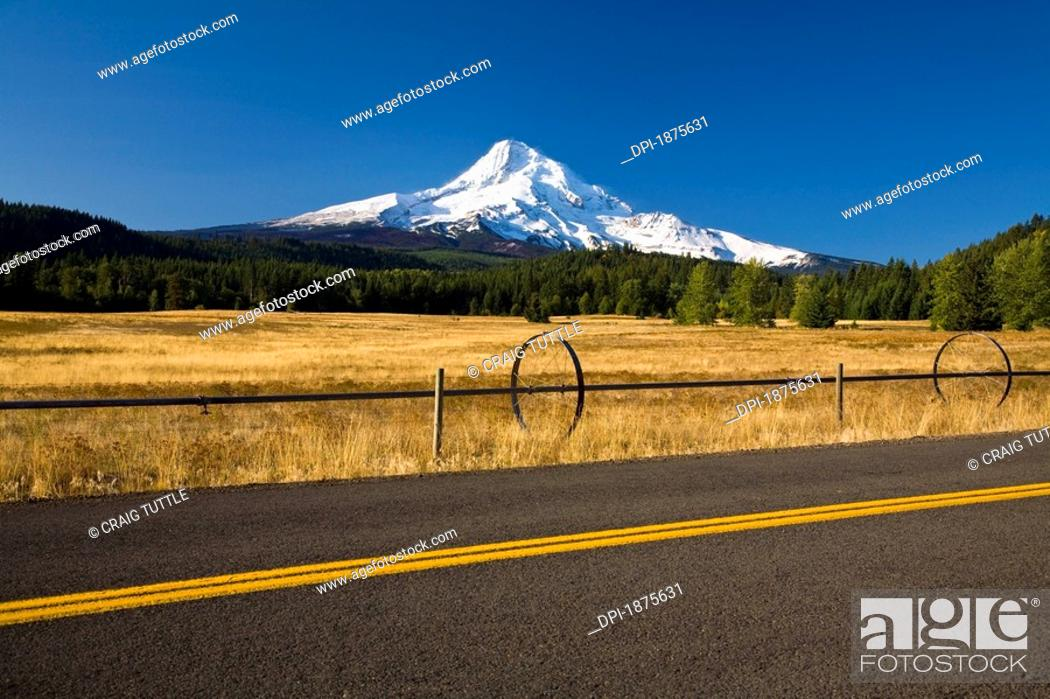 Stock Photo: oregon, united states of america, view of mount hood from a road in hood river valley.