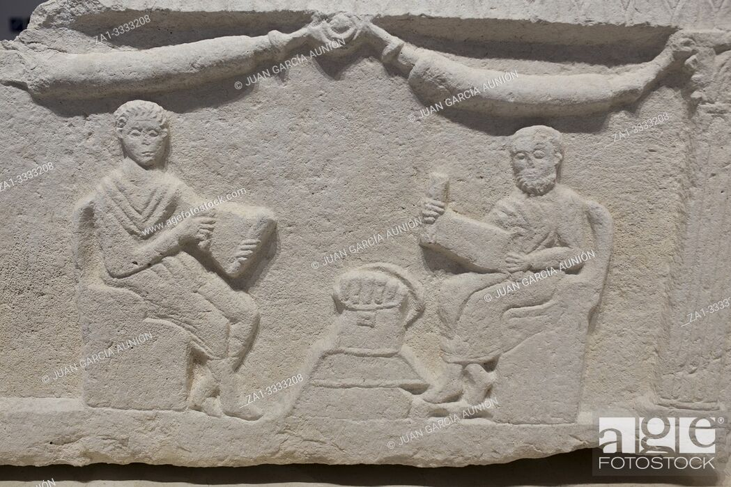 Stock Photo: Education in Roman times. Master and disciple. Málaga Museum, Spain.