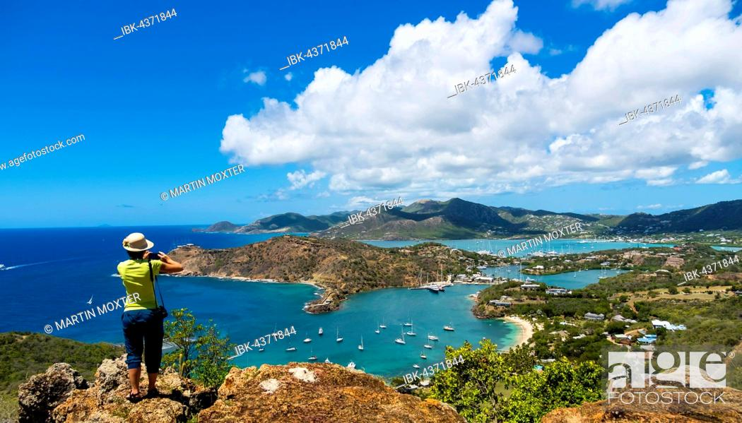 Stock Photo: View from Shirley Heights to English Harbour and Windward Bay, Antigua, West Indies, Antigua, Antigua and Barbuda.