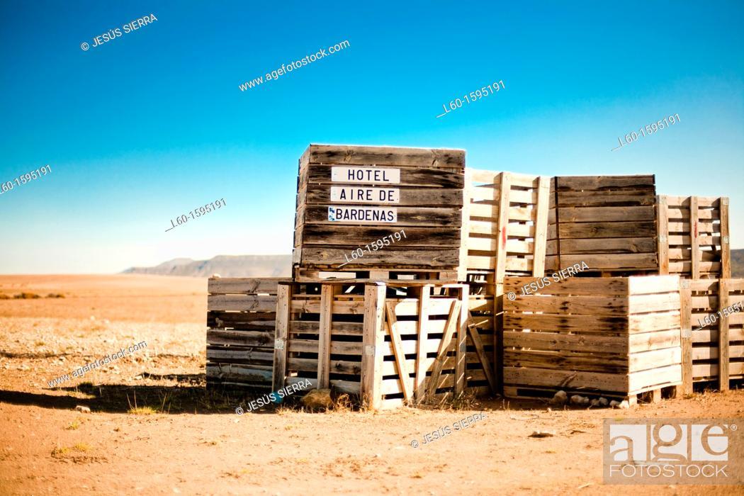 Stock Photo: Hotel 'Aire de Bardenas', Bardenas Reales, Aragon province, Spain.