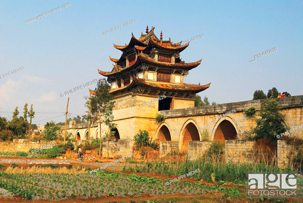 Stock Photo: China, Yunnan, double dragon bridge around Jianshui.
