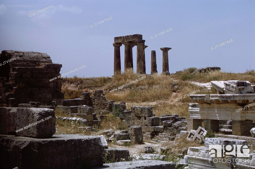 Stock Photo: Temple of Apollo, Ancient Corinth, Greece, 1963.