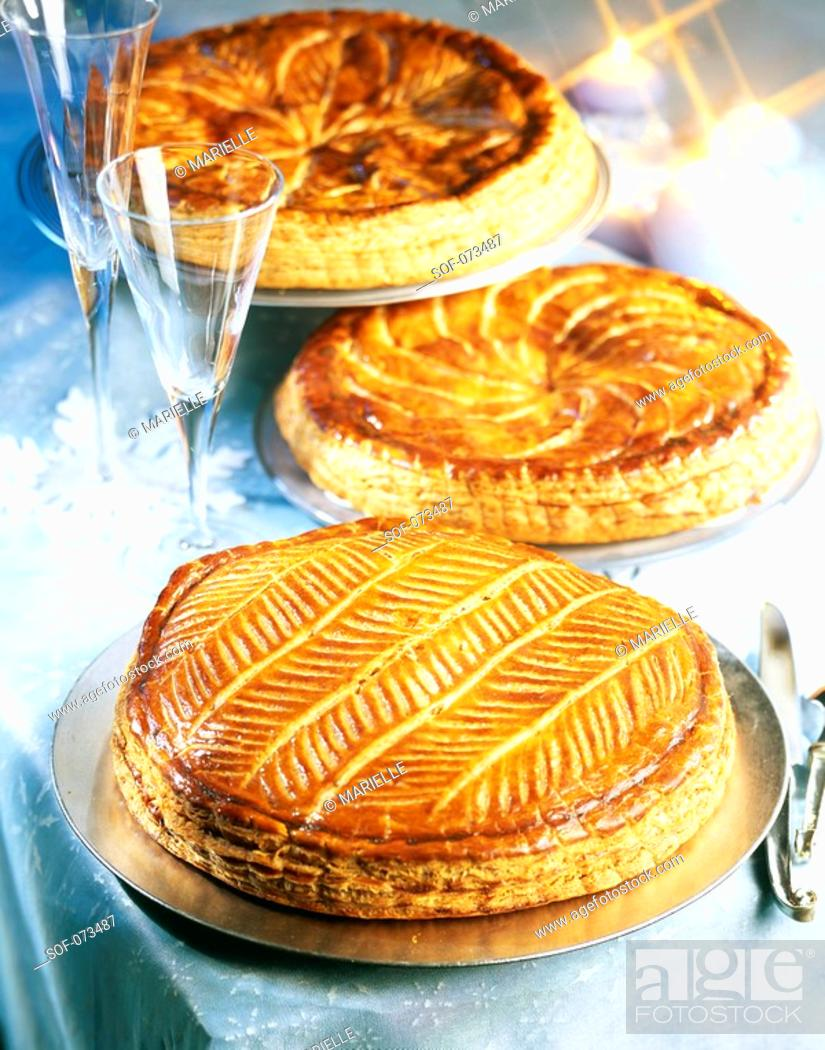 Stock Photo: galettes des rois almond flaky pastry cakes.