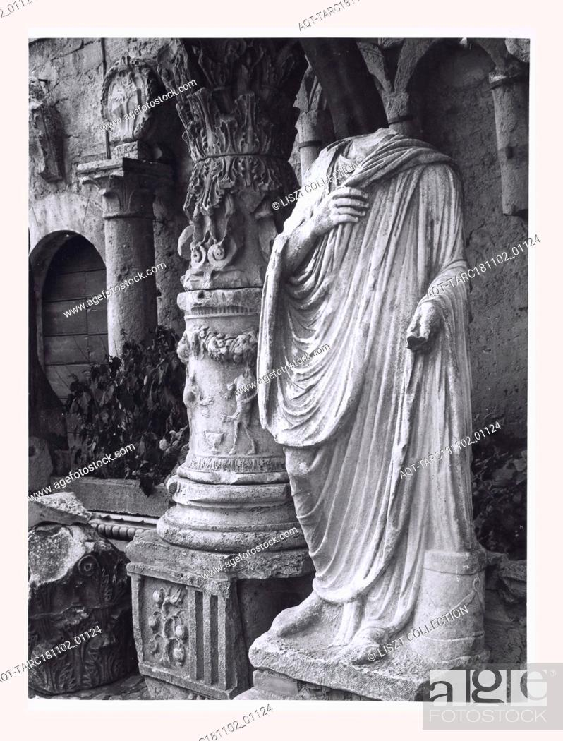 Stock Photo: Umbria Terni Amelia Palazzo Comunale, this is my Italy, the italian country of visual history, Medieval Architectural sculpture sarcophagus, capitals.