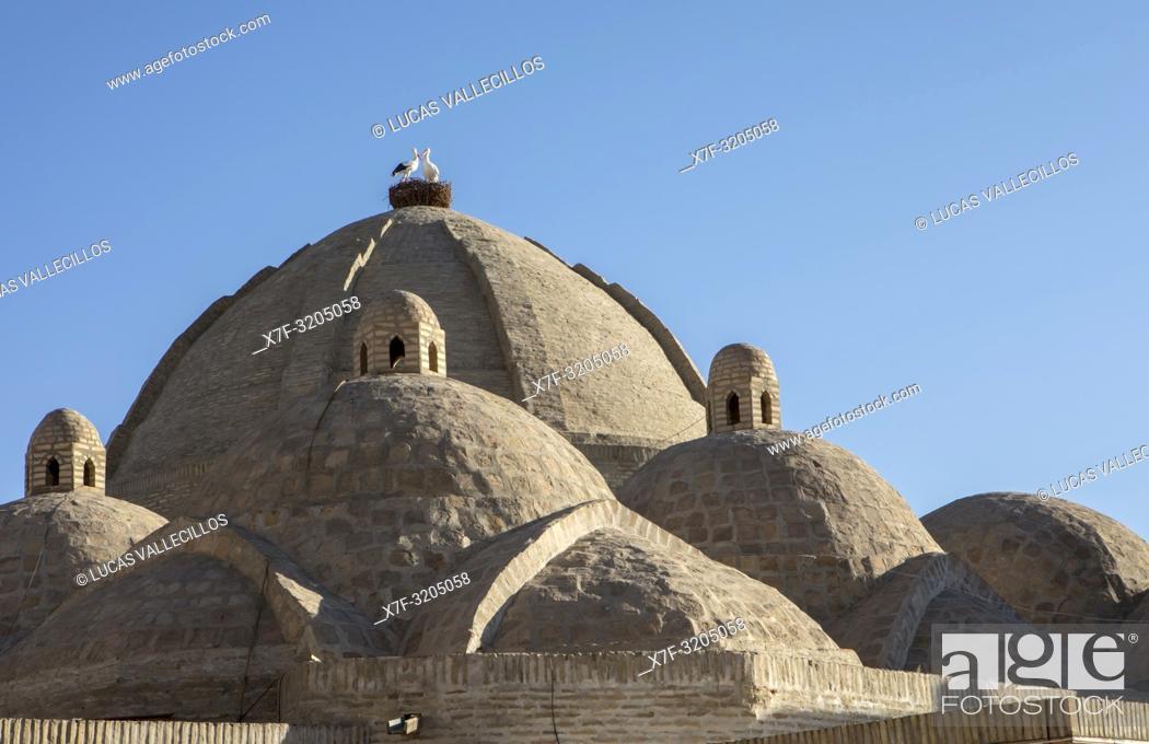 Stock Photo: roof detail of Taki Zargaron bazaar, Bukhara, Uzbekistan.