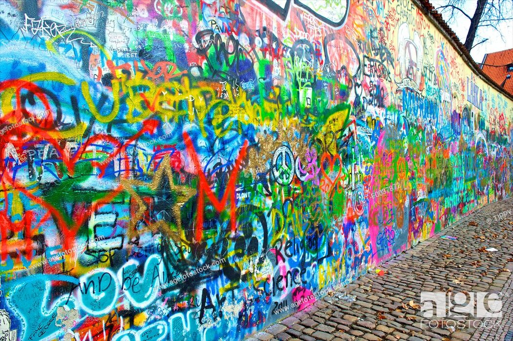 Stock Photo: Czech Republic, Prague, graffitis.