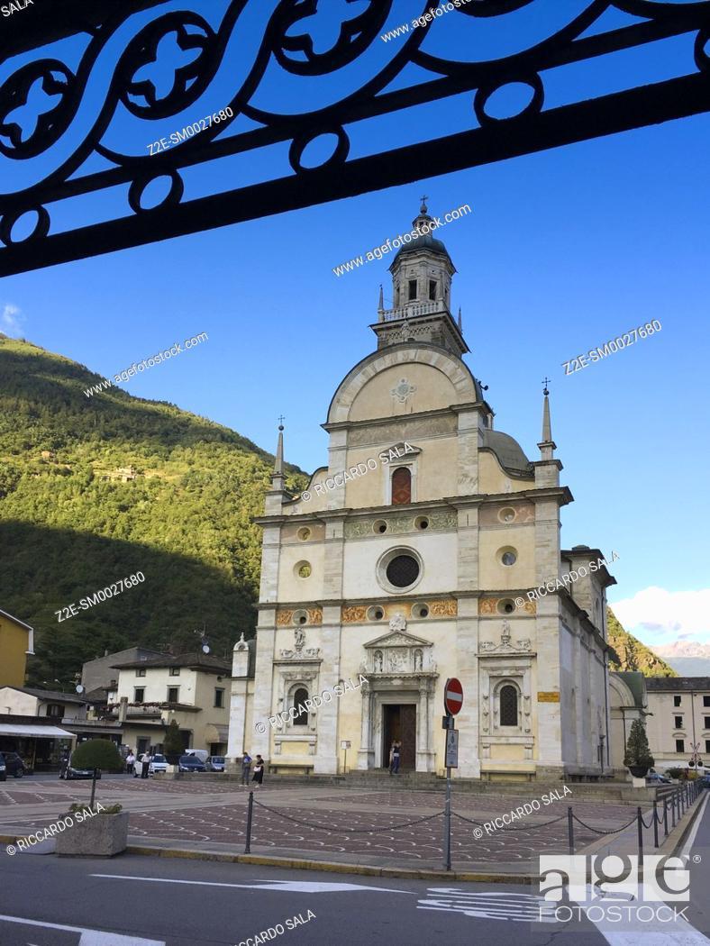Stock Photo: Italy, Lombardy, Valtellina, Tirano, Sanctuary of the Madonna di Tirano, Facade. .