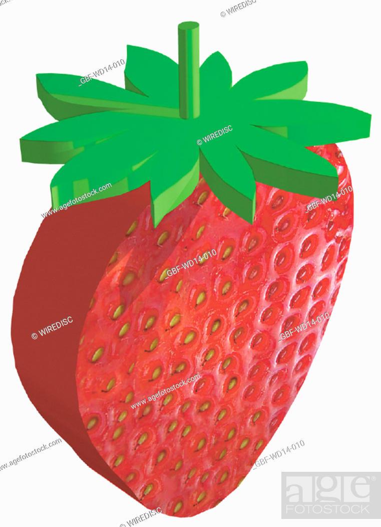 Stock Photo: Illustration, fruit, strawberry.
