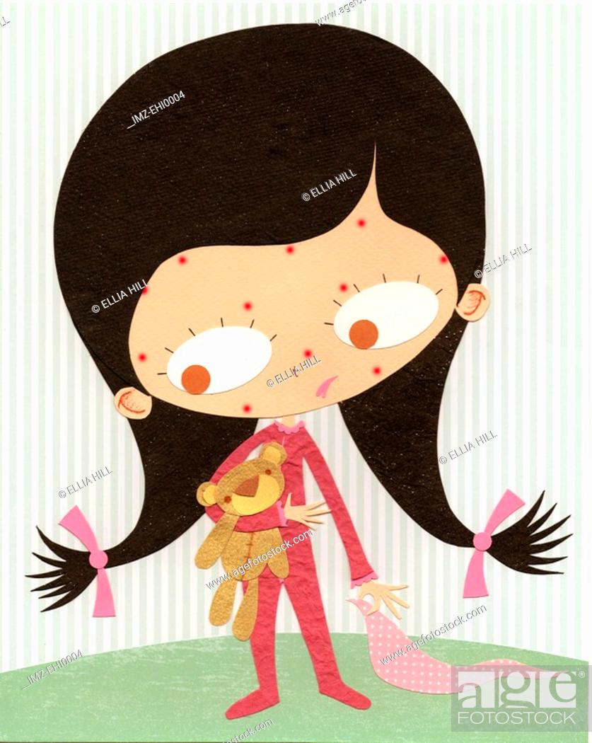 Stock Photo: A paper cut illustration of a young girl with measles.