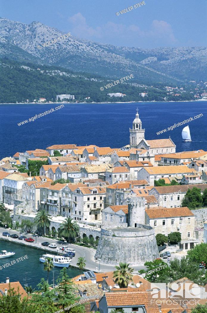 Stock Photo: Adriactic, Coastline, Croatia, Europe, Heritage, Holiday, Island, Islands, Korcula, Landmark, Skyline, Tourism, Town, Travel, Un.