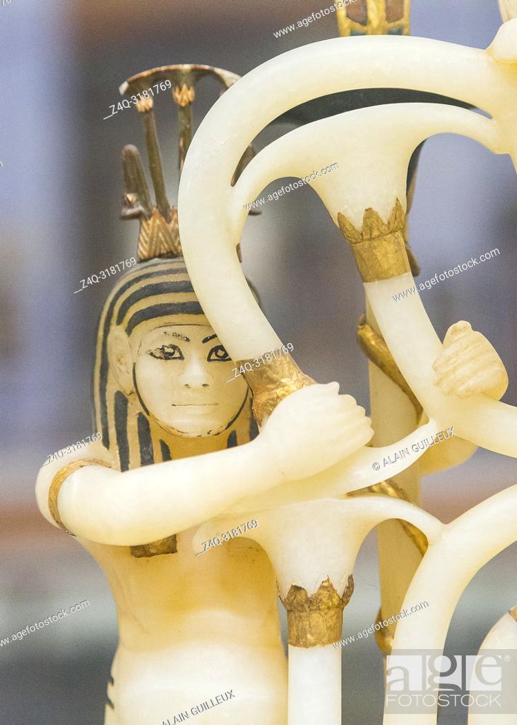 Stock Photo: Egypt, Cairo, Egyptian Museum, Tutankhamon alabaster, from his tomb in Luxor : Composite perfume vase, upon openwork pedestal.