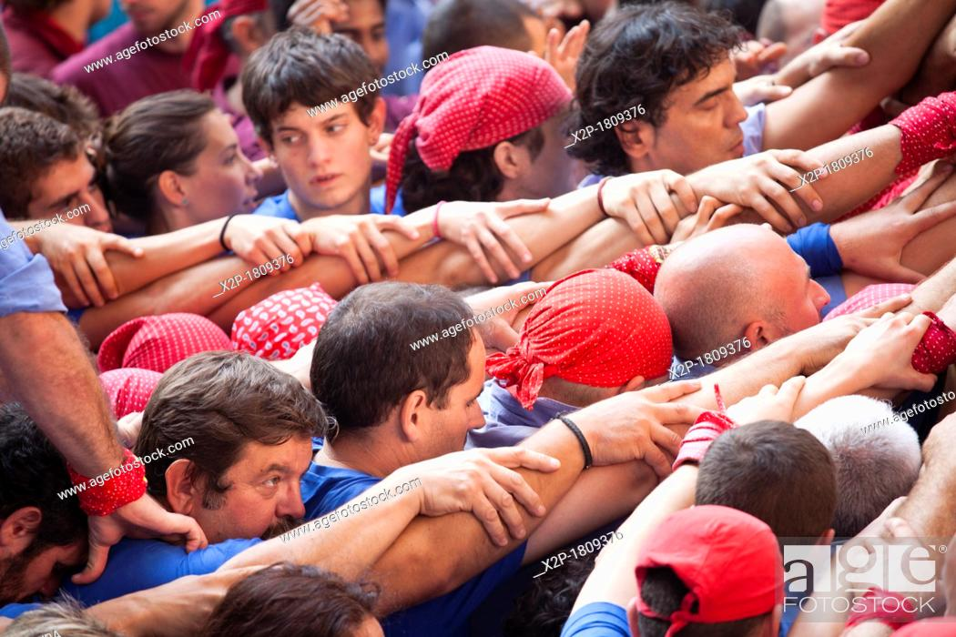 Stock Photo: 'Tarragona, Spain, october 6 and 7 2012  Contest XXIV Castellers human towers  The castellers are UNESCO World Heritage '.